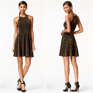 Bar III Black Gold Metallic Halter Fit Flare Dress